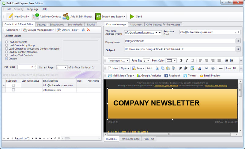 Bulk Email Express Screen shot